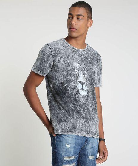 Camiseta-Masculina-Leao-Manga-Curta-Gola-Careca-Preta-9847799-Preto_1