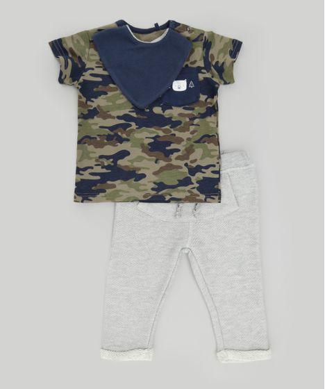 e699527e8 Conjunto de Camiseta Estampada Camuflada Verde Militar + Calça em ...