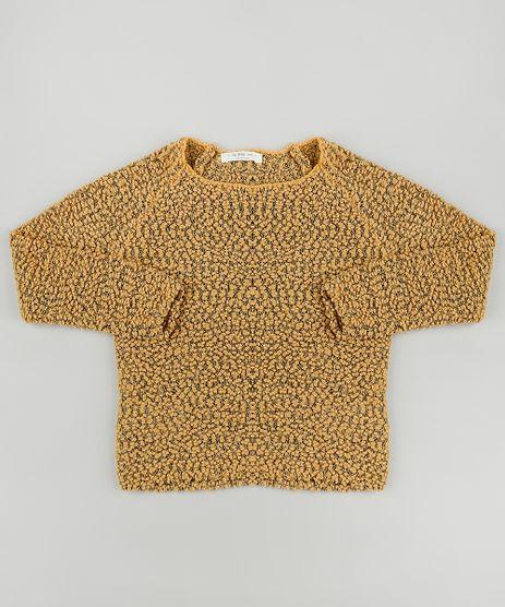 Sueter-Infantil-em-Trico-Texturizado-Decote-Redondo-Mostarda-9802841-Mostarda_1