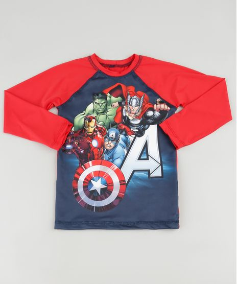 Camiseta-de-Praia-Infantil-Os-Vingadores-Raglan-Manga-Longa-com-Protecao-UV50--Vermelha-9890708-Vermelho_1