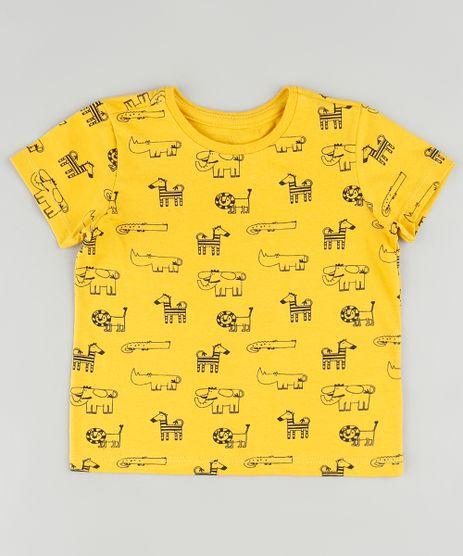 Camiseta-Infantil-Estampada-de-Bichos-Manga-Curta-Amarela-9875970-Amarelo_1
