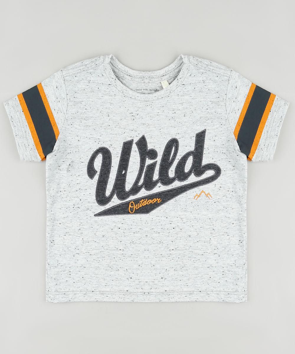 "Camiseta Infantil Wild"" com Bordado Manga Curta Cinza Mescla Claro"""