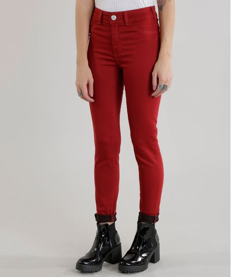a54330700 Calça Super Skinny Energy Jeans em Algodão + Sustentável Vermelha