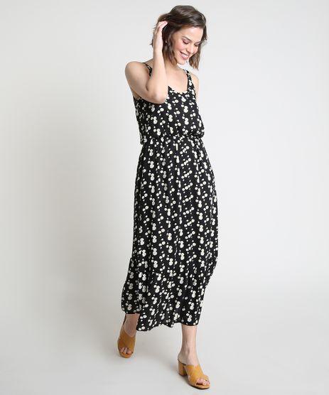 Vestido-Feminino-Midi-Estampado-de-Margaridas-com-Botoes-Alca-Fina-Preto-9912184-Preto_1