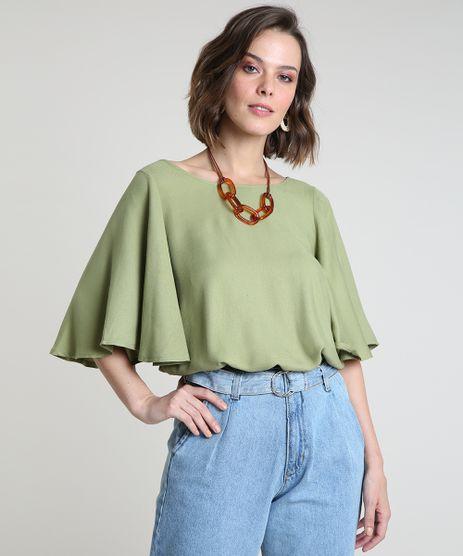 Blusa-Feminina-Bluse-Manga-Ampla-Decote-Redondo-Verde-9912182-Verde_1