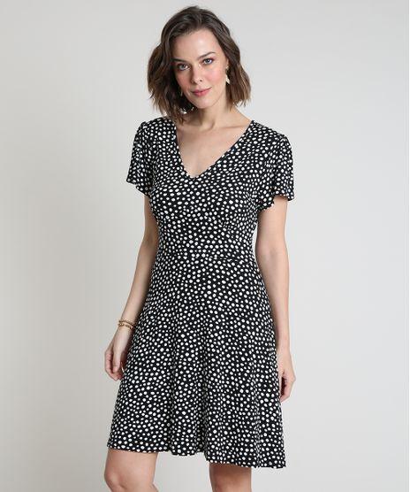 Vestido-Feminino-Curto-Evase-Estampado-de-Poa-Manga-Curta-Preto-9872514-Preto_1
