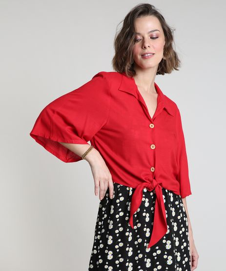 Camisa-Feminina-com-No-Manga-Ampla-Vermelha-9909529-Vermelho_1