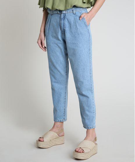 Calca-Jeans-Feminina-Mom-Cintura-Super-Alta-com-Cinto-Azul-Claro-9885760-Azul_Claro_1