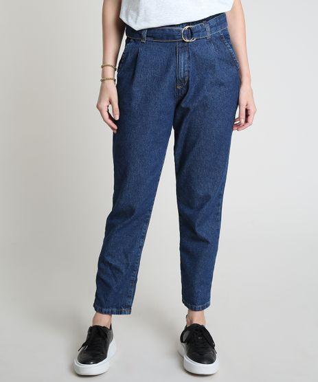 Calca-Jeans-Feminina-Mom-Cintura-Super-Alta-com-Cinto-Azul-Escuro-9885761-Azul_Escuro_1