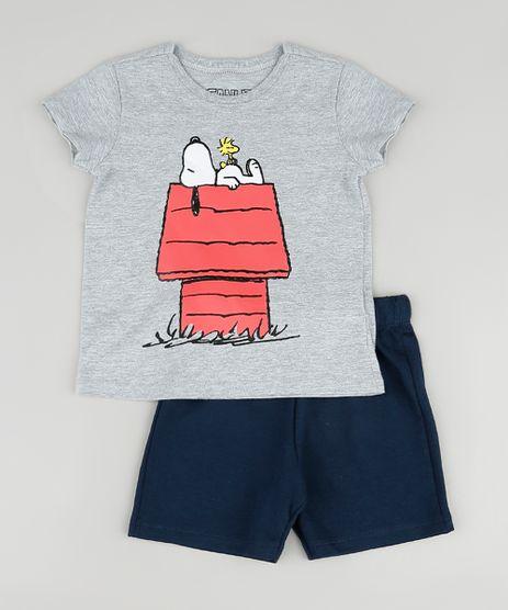 Conjunto-Infantil-Snoopy-de-Camiseta-Manga-Curta-Cinza-Mescla---Bermuda-em-Moletom-Azul-Marinho-9876591-Azul_Marinho_1