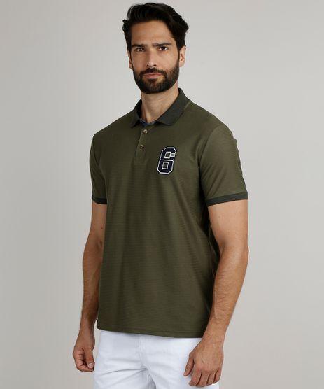 Polo-Masculina-Comfort-Maquinetada-com-Patch-Manga-Curta-Verde-Militar-9910314-Verde_Militar_1
