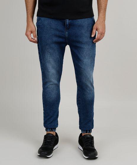 Calca-Jeans-Masculina-Jogger-Skinny-em-Moletom-com-Cordao-Azul-Medio-9898847-Azul_Medio_1