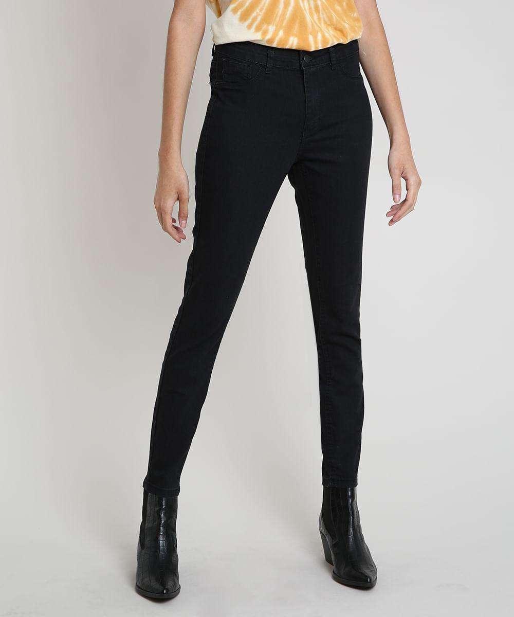 Calça Jeans Feminina Cigarrete Cintura Média Preta