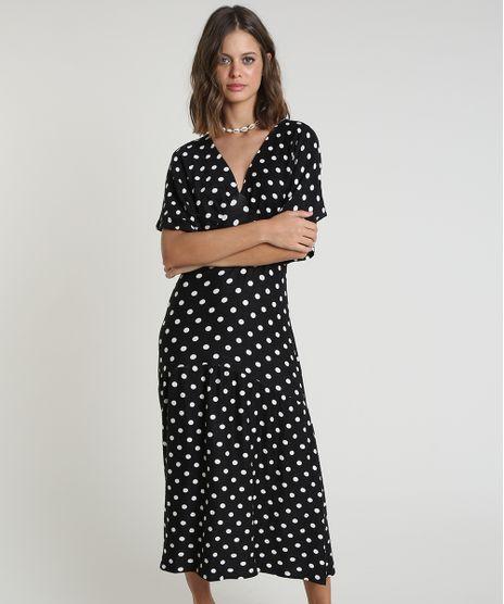 Vestido-Feminino-Midi-Estampado-de-Poa-Manga-Curta-Preto-9918306-Preto_1