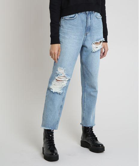 Calca-Jeans-Feminina-Mom-Cropped-Cintura-Super-Alta-com-Rasgos-Azul-Claro-9884331-Azul_Claro_1