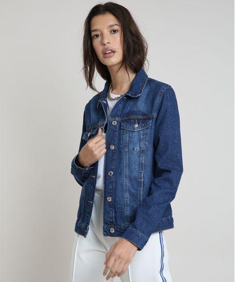 Jaqueta-Jeans-Feminina-com-Bolsos-Azul-Escuro-9859544-Azul_Escuro_1