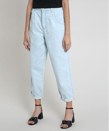 Calca-Jeans-Feminina-Baggy-Cintura-Super-Alta-com-Barra-Dobrada-Azul-Claro-9889890-Azul_Claro_1