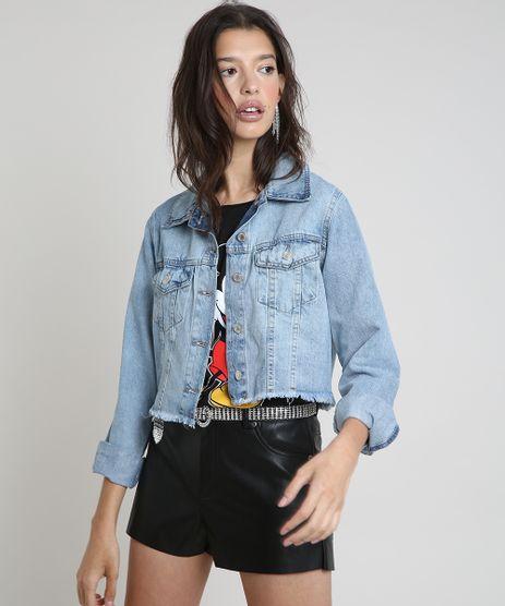 Jaqueta-Jeans-Feminina-Cropped-com-Barra-Desfiada--Azul-Claro-9885746-Azul_Claro_1