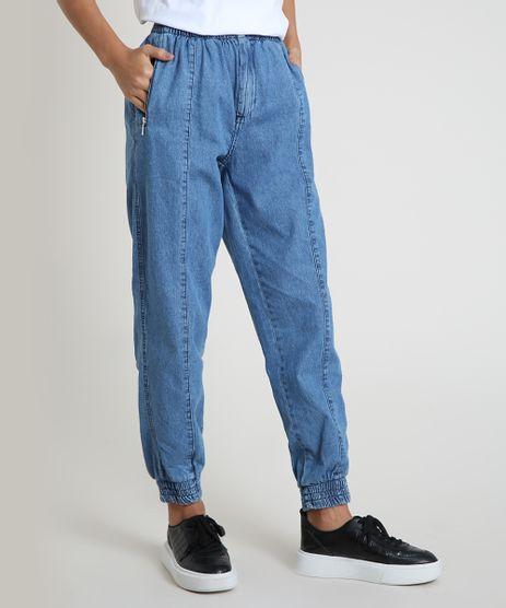 Calca-Jeans-Feminina-Jogger-Cintura-Alta-com-Bolsos-Azul-Medio-9898009-Azul_Medio_1
