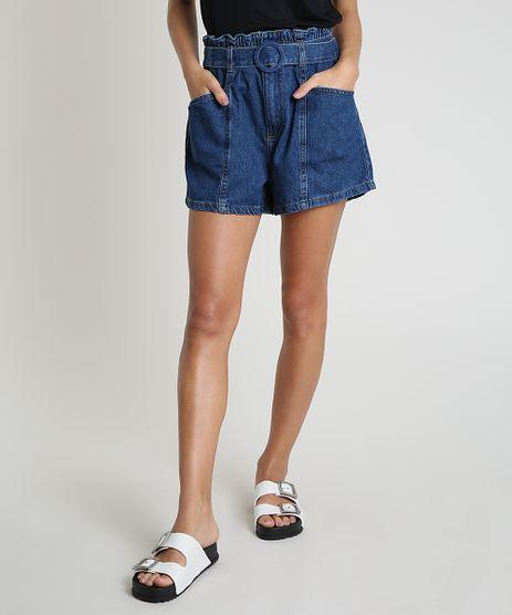 Short-Jeans-Feminino-Clochard-Cintura-Alta-com-Faixa-para-Amarrar-Azul-Medio-9896254-Azul_Medio_1
