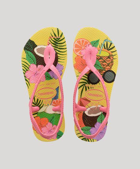 Rasteirinha-Infantil-Havaianas-Slim-Luna-Estampada-Tropical-Amarela-9918387-Amarelo_1
