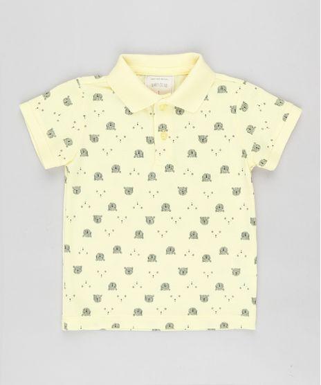 Polo-Infantil-em-Piquet-Estampado-de-Ursinho-Manga-Curta-Amarela-9863354-Amarelo_1