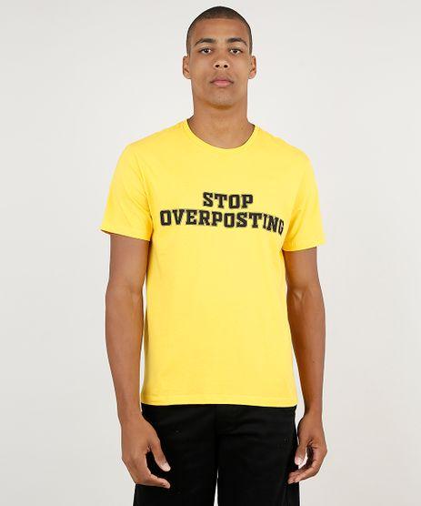 Camiseta-Masculina--Stop-Overposting--Manga-Curta-Gola-Careca-Amarela-9902065-Amarelo_1