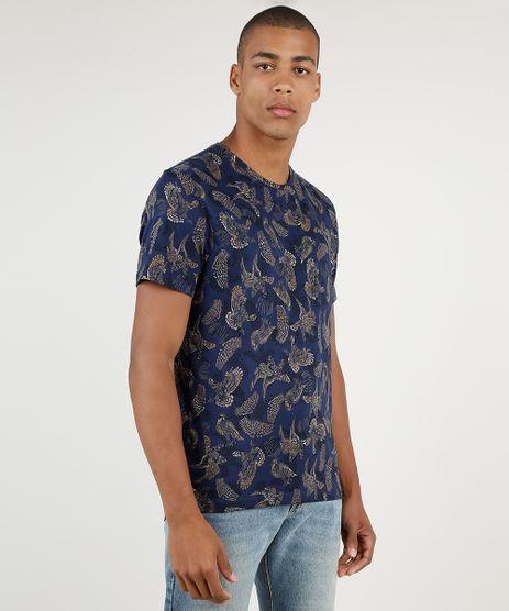 Camiseta-Masculina-Estampado-de-Passaros-Manga-Curta-Gola-Careca-Azul-Marinho-9903873-Azul_Marinho_1