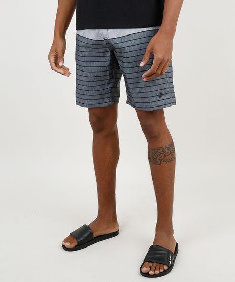 Bermuda-Surf-Masculina-com-Listras-e-Bolsos-Cinza-Mescla-Escuro-9867073-Cinza_Mescla_Escuro_1