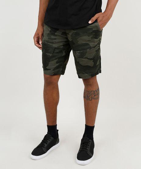 Bermuda-de-Sarja-Masculina-Slim-em-Moletom-Estampada-Camuflada-Verde-Militar-9871824-Verde_Militar_1