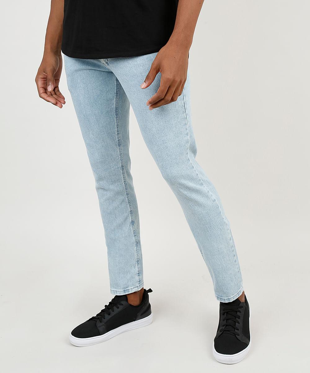 Calça Jeans Masculina Slim com Puídos Azul Claro