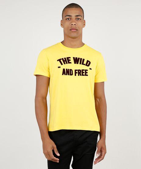 Camiseta-Masculina--The-Wild-and-Free--Manga-Curta-Gola-Careca-Amarela-9940850-Amarelo_1
