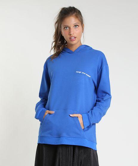 Blusao-Feminino-Mindset-em-Moletom--Change-Your-Mindset--com-Capuz-e-Bolso-Azul-Royal-9946479-Azul_Royal_1
