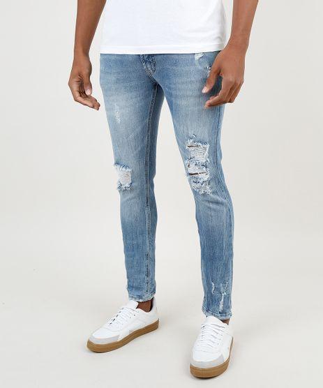 Calca-Jeans-Masculina-Skinny-Destroyed-Azul-Medio-9859787-Azul_Medio_1