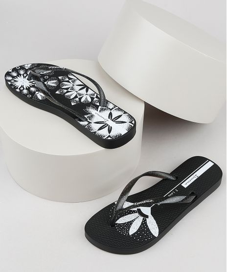 Chinelo-Feminino-Ipanema-Sem-Igual-Tattoo-Floral-com-Glitter-Preto-9941684-Preto_1