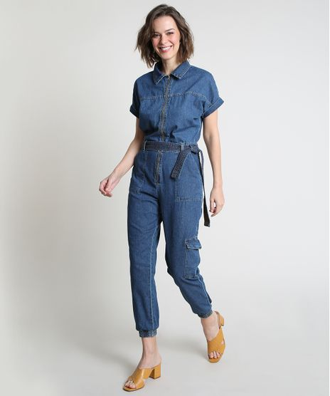Macacao-Jeans-Feminino-Jogger-Cargo-com-Ziper-e-Faixa-para-Amarrar-Manga-Curta-Azul-Medio-9885741-Azul_Medio_1