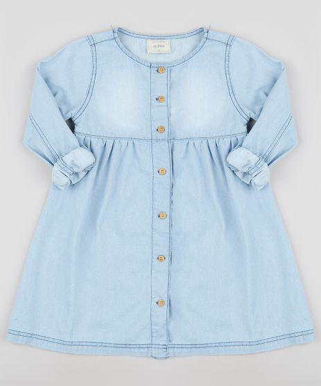 Vestido-Jeans-Infantil-com-Botoes-Manga-Longa-Azul-Claro-9892623-Azul_Claro_1
