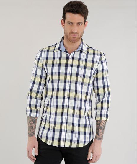 Camisa-Slim-Xadrez-em-Algodao---Sustentavel--Amarela-8454895-Amarelo_1