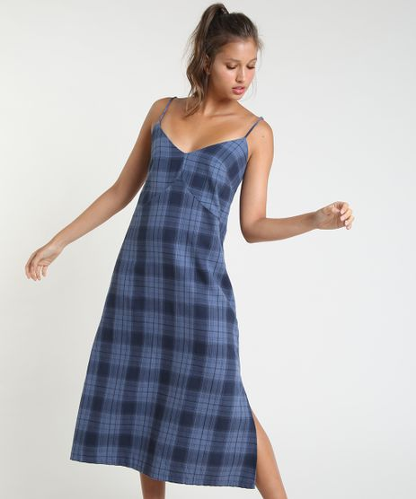 Vestido-Feminino-Mindset-Midi-Estampado-Xadrez-com-Fendas-Alca-Fina-Azul-Marinho-9946144-Azul_Marinho_1