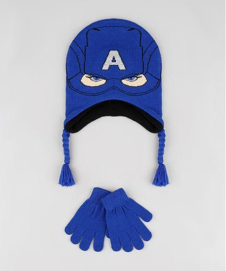 Kit-Infantil-de-Gorro-Capitao-America---Luva-em-Trico-Azul-Royal-9784917-Azul_Royal_1