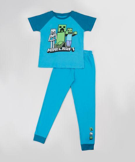 Pijama-Infantil-Minecraft-Raglan-Manga-Curta-Azul-9884817-Azul_1