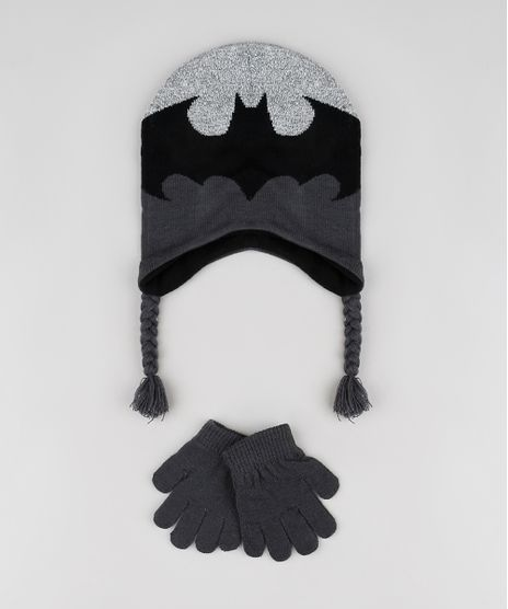 Kit-Infantil-de-Gorro-Batman---Luva-em-Trico-Cinza-Mescla-Escuro-9784905-Cinza_Mescla_Escuro_1