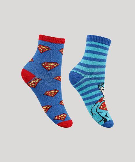 Kit-de-2-Meias-Infantis-Cano-Medio-Super-Homem-Estampadas-Azul-9932145-Azul_1