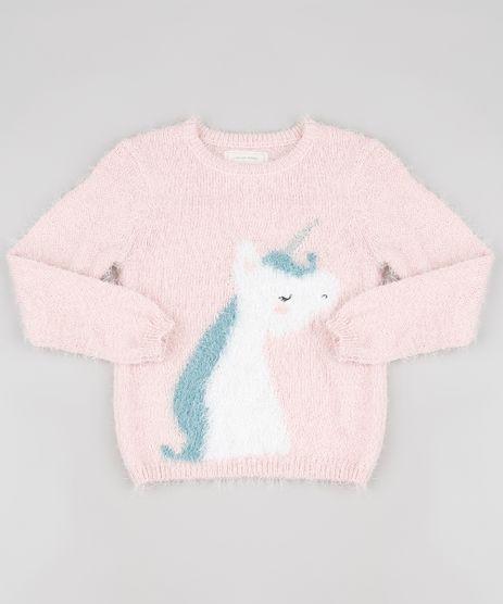 Sueter-Infantil-Unicornio-em-Trico-Felpudo--Rosa-Claro-9811048-Rosa_Claro_1