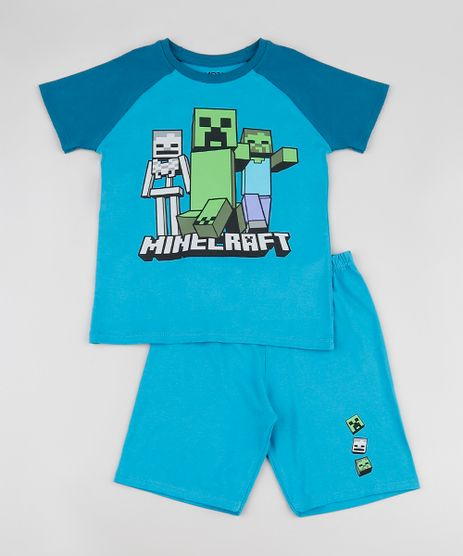 Pijama-Infantil-Minecraft-Raglan-Manga-Curta-Azul-9878559-Azul_1