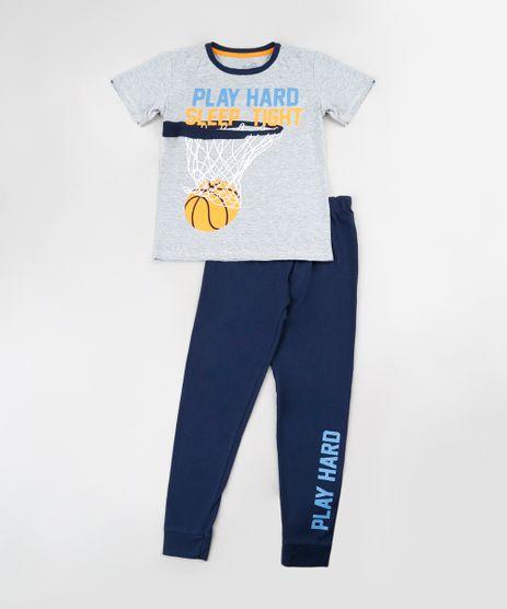Pijama-Infantil-Basquete--Play-Hard--Manga-Curta-Cinza-Mescla-9878566-Cinza_Mescla_1