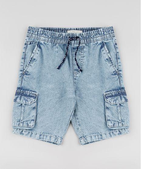 Bermuda-Jeans-Infantil-Reta-Cargo-com-Cordao-Azul-Claro-9884058-Azul_Claro_1