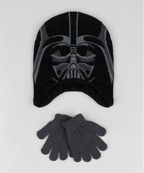 Kit-Infantil-de-Gorro-Darth-Vader-Star-Wars-Preto---Luva-em-Trico-Cinza-Mescla-Escuro-9784920-Cinza_Mescla_Escuro_1