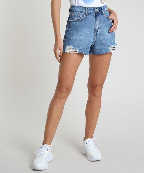 Short-Jeans-Feminino-Destroyed-Cintura-Super-Alta-Barra-a-Fio-Azul-Medio-9893988-Azul_Medio_1
