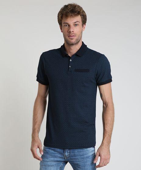 Polo-Masculina-Slim-em-Piquet-Estampada-Geometrica-com-Bolsos-Azul-Marinho-9867509-Azul_Marinho_1